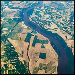 cropland and river from above
