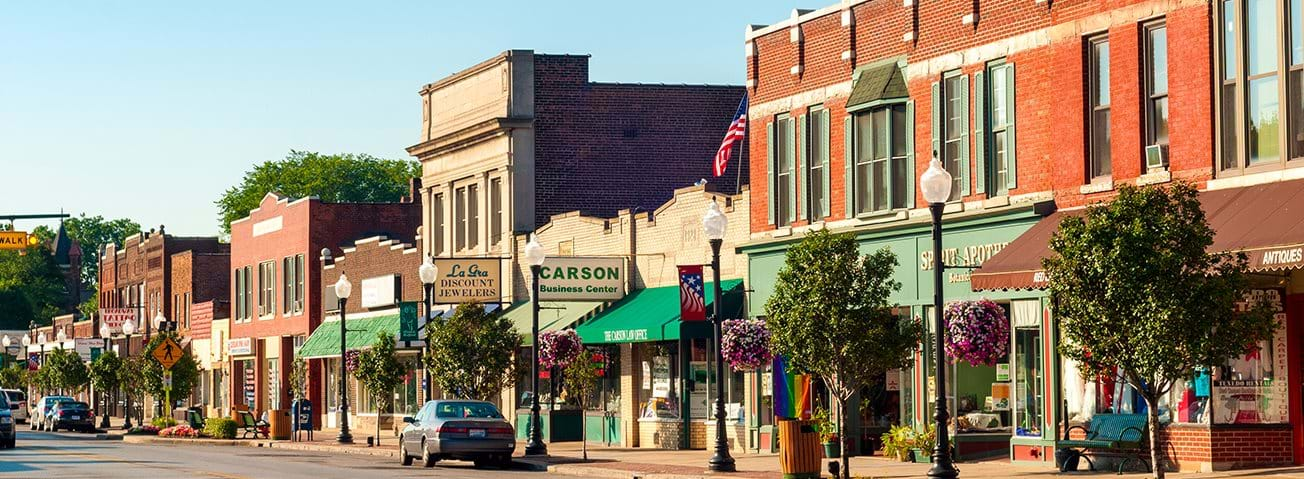 Bedford, OH, USA - July 25, 2015: With many old buildings over a century old, this southeastern Cleveland suburb retains a small-town America look and atmosphere.