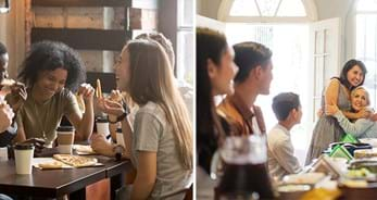 Images of young people at a pizzaria and of a multigenerational family sharing a meal at home.