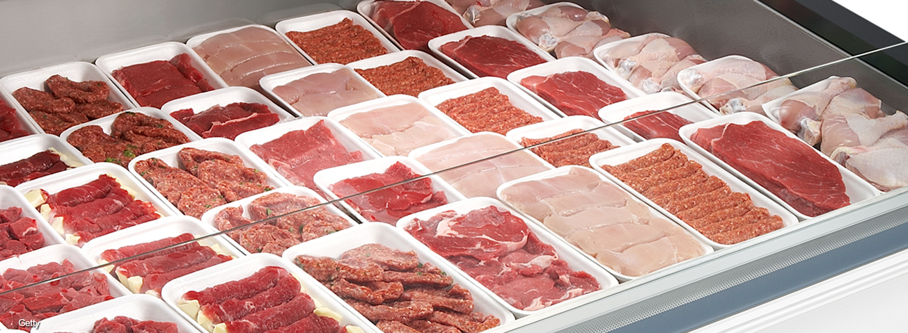 Photo: A wide array of poultry, pork, and beef in meat display