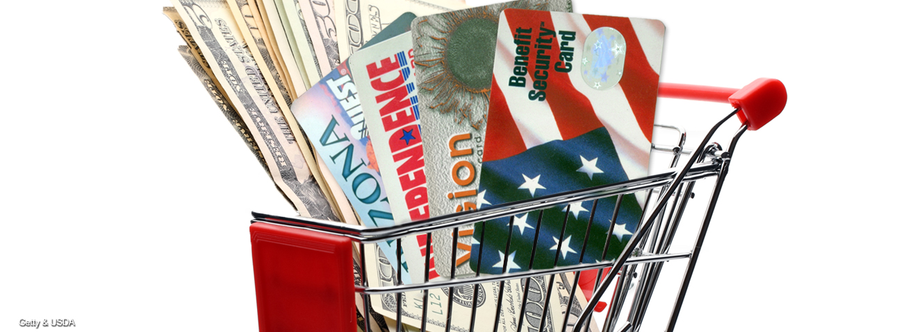 Graphic image of a minature shopping cart with a variety of dollar bills and EBT cards