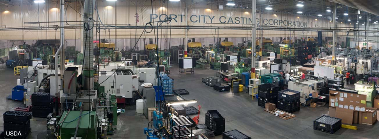 Port City Casting Corporation (pictured) boosted its employment by 12 percent over last year thanks to two Rural Business Guaranteed Loans totaling $9.6 million.