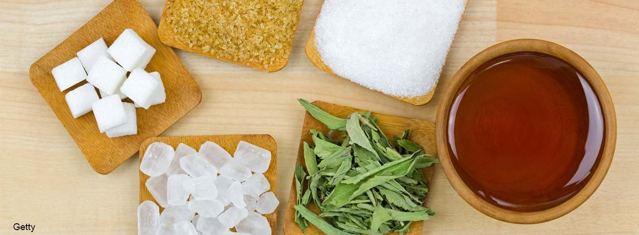 Sugar cubes, brown sugar crystals, granulated white sugar, rock sugar, stevia, honey