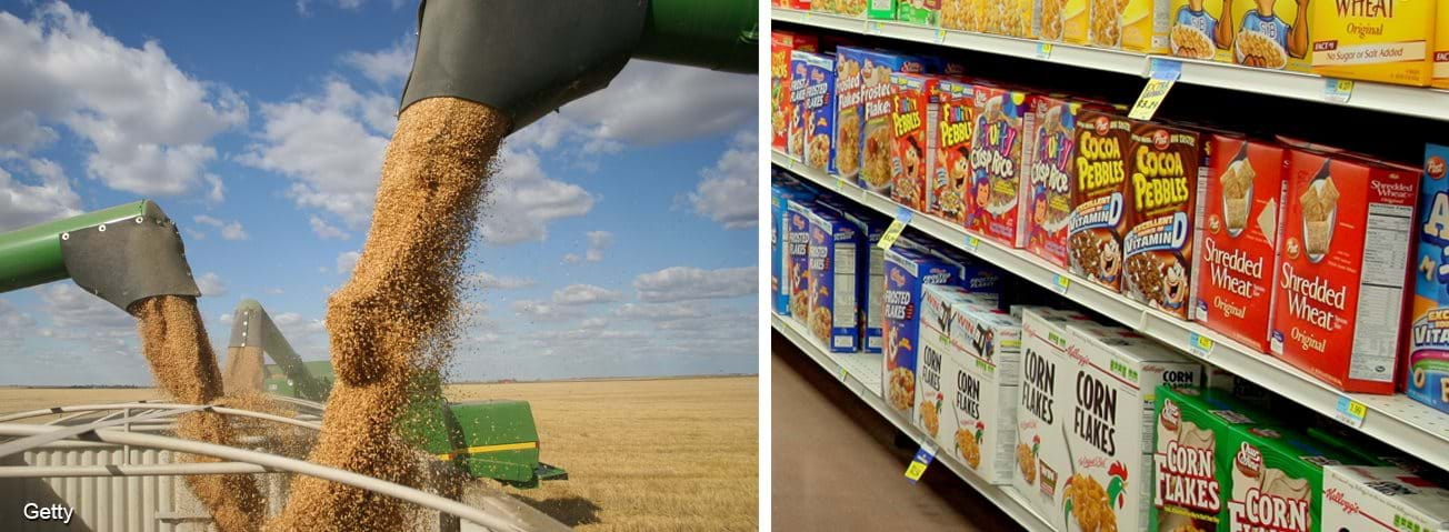 Photo collage of grain combines and cereal boxes in grocery store