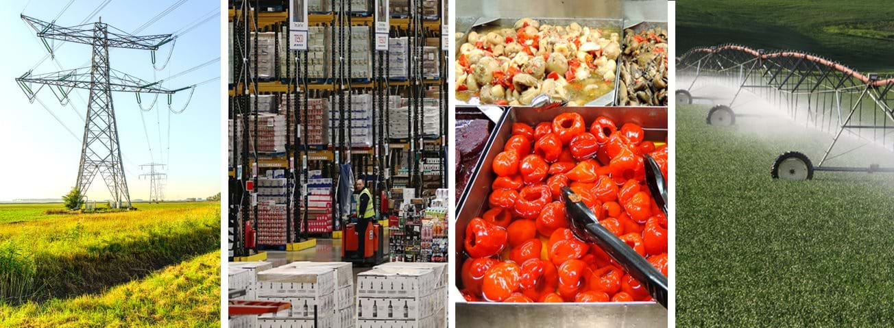 Cover photo collage: Warehouse distribution center, windmill field, agricultural sprinkler system, and food and serving trays