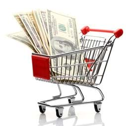 Grocery cart with various dollar bills