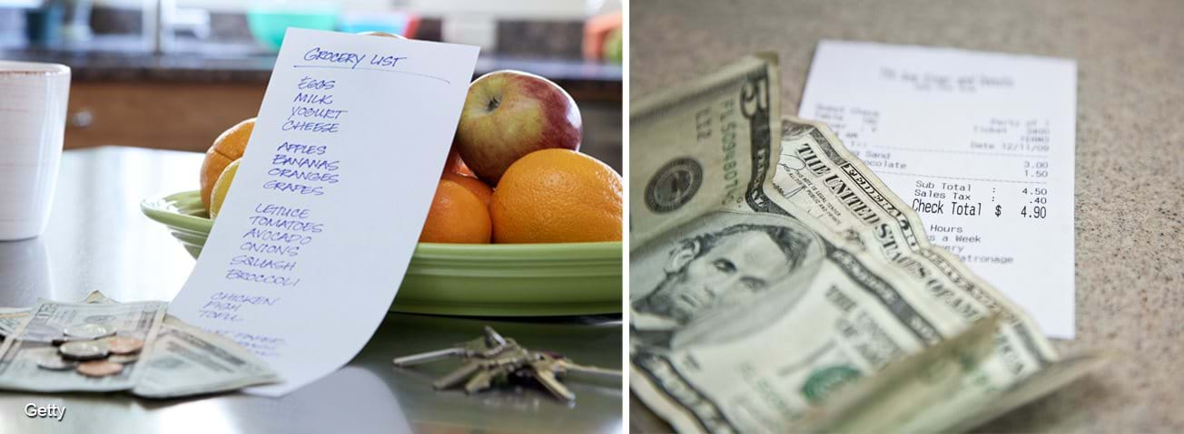 Photo collage: Grocery list and money on a kitchen table and a receipt and money on a counter