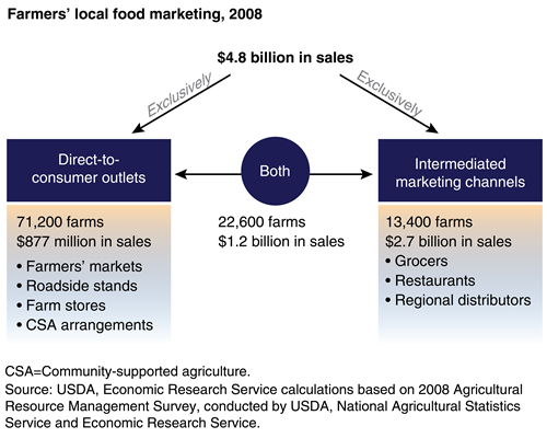 A flow chart shows local food marketing shares that go to direct-to-consumer outlets and intermediated marketing channels