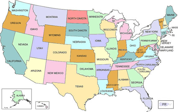 A Map Of The U S States