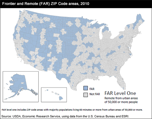 Frontier and Remote (FAR) Zip Code areas, 2010; FAR Level One