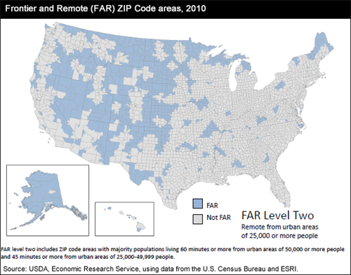Frontier and Remote (FAR) Zip Code areas, 2010; FAR Level Two