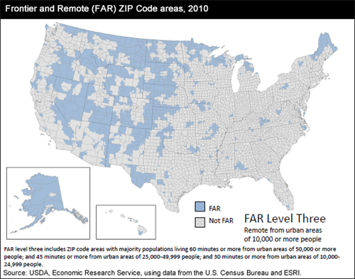 Frontier and Remote (FAR) Zip Code areas, 2010; FAR Level Three