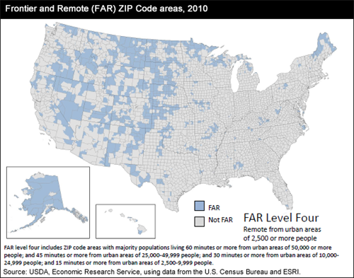 Frontier and Remote (FAR) Zip Code areas, 2010; FAR Level Four