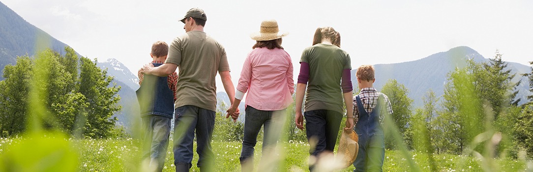 Image of family walking in a field
