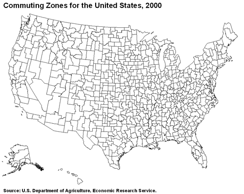 Commuting Zones for the United States, 2000
