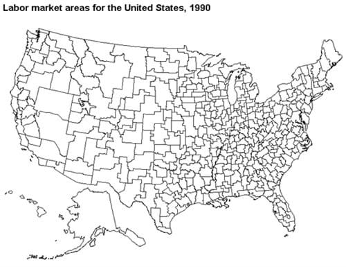 Labor market areas for the United States, 1990