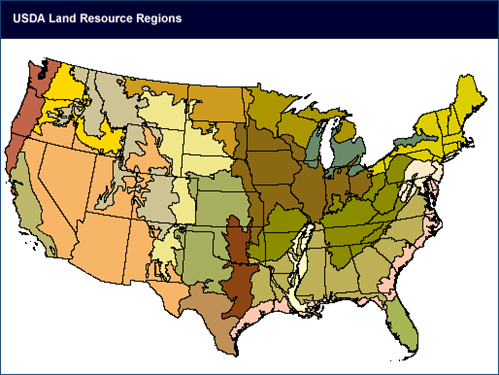 A map of USDA Land Resource Regions