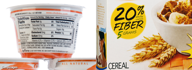 Images of yogurt container labels and a cereal box