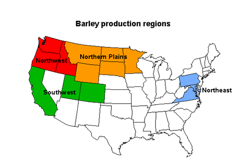 Map of old barley production regions