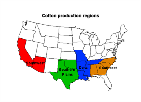 Map of old cotton production regions