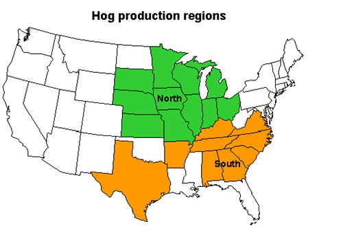 Map of old hog production regions