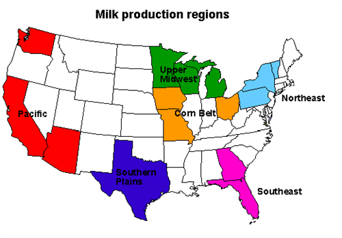 Map of old milk production regions