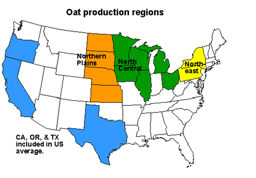 Map of old oat production regions