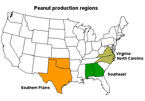Map of old peanut production regions