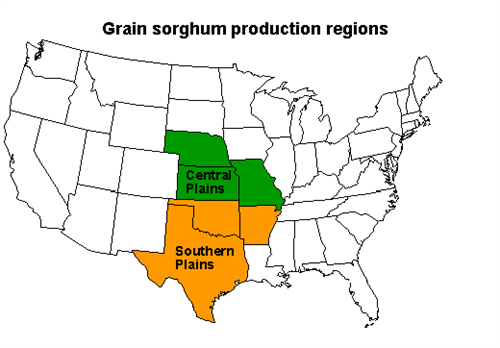Map of old grain sorghum production regions