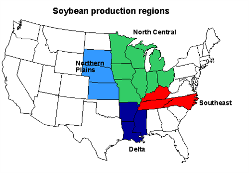 Map of old soybean production regions