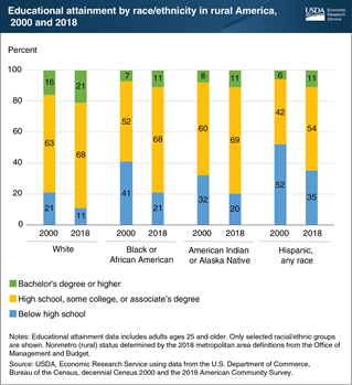 Disparities in educational attainment by race and ethnicity persist in rural America
