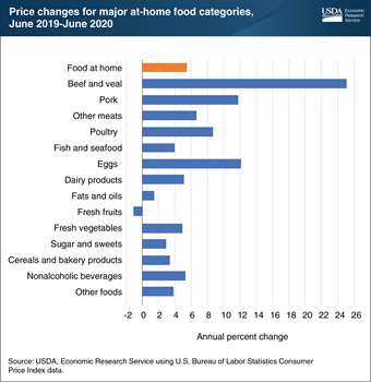 Retail prices for nearly all food-at-home categories up in June 2020 compared with June 2019