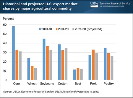 This bar chart shows the historical and projected U.S. export market shares by major agricultural commodity.