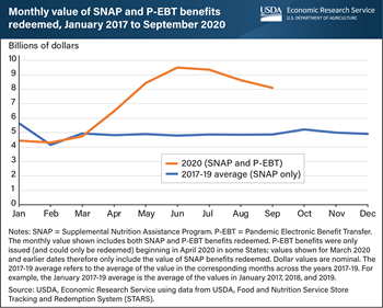 SNAP and P-EBT benefit redemptions surpassed prior 3-year average in 2020