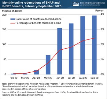 Online redemptions of SNAP and P-EBT benefits rapidly expanded throughout 2020