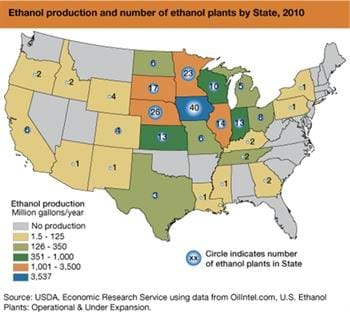Ethanol refineries locate near feedstock sources