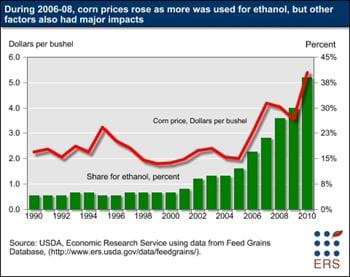 Ethanol production, along with other factors, affects agricultural commodity markets