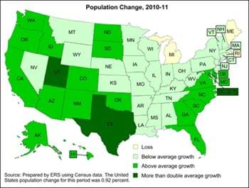 Population change 2010-11 varies across States