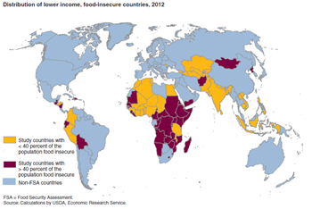 Food insecurity is concentrated in Sub-Saharan Africa in 2012