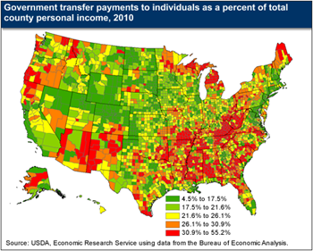 Share of income from government transfer payments varies by region