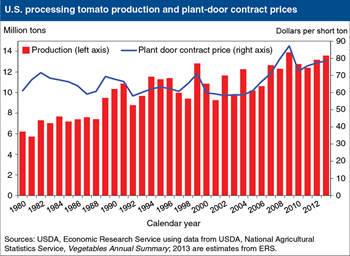 Contract intentions for processing tomatoes increase in 2013