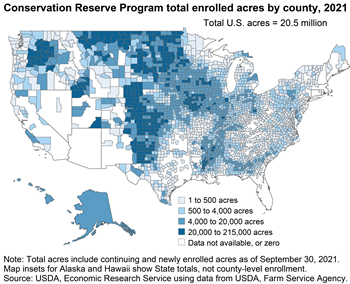 The Conservation Reserve Program (CRP) is regionally concentrated