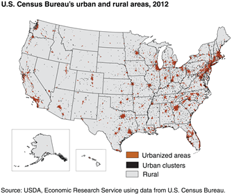 Defining rural areas: U.S. Census uses small geographic units (blocks) to define urban/rural