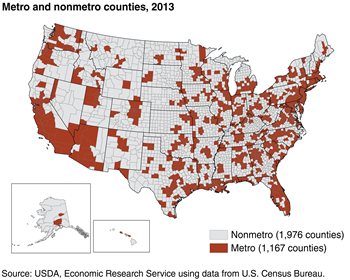 "Defining rural areas: ""Nonmetro"" is based on counties"