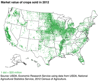 Crop production is concentrated in California and the Midwest