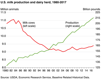 Growth in output per cow drives U.S. milk production gains