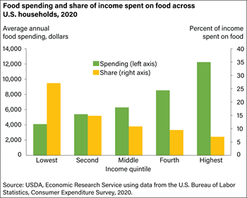 Food spending as a share of income declines as income rises