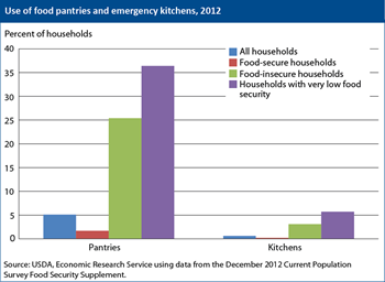 One-quarter of food-insecure households visited food pantries in 2012