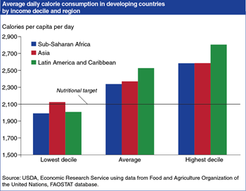 Low income groups' calorie consumption in developing countries remains below target in some regions