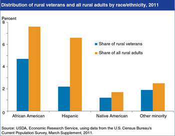 Minorities represent a lower share of rural veterans than of the rural population